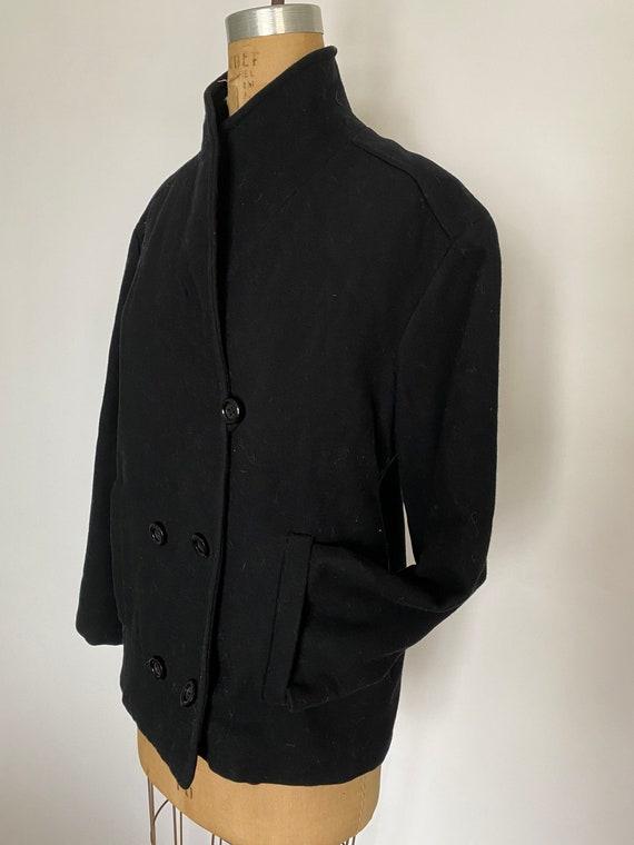 Pauline Trigere Vintage 1980's black wool peacoat - image 7