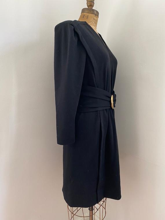 Pauline Trigere Vintage 1980's black wool belted … - image 6