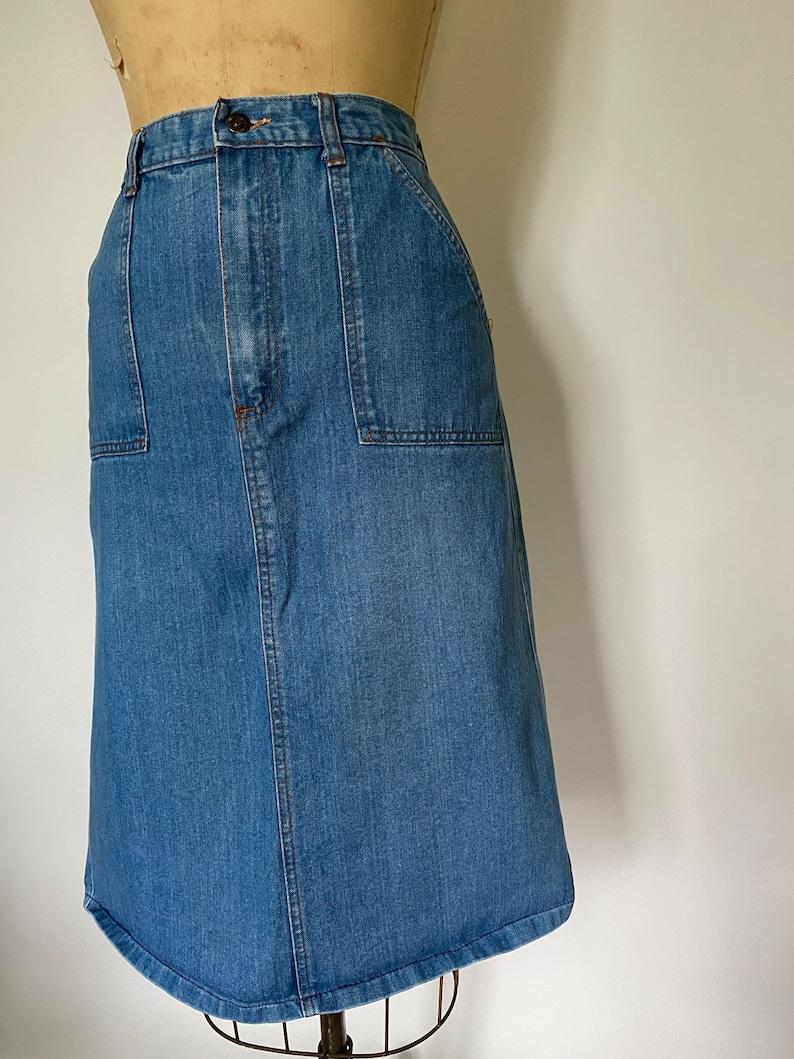 1970\u2019s vintage denim skirt with pockets