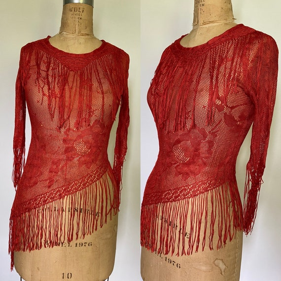 1980's vintage red lace asymmetrical top