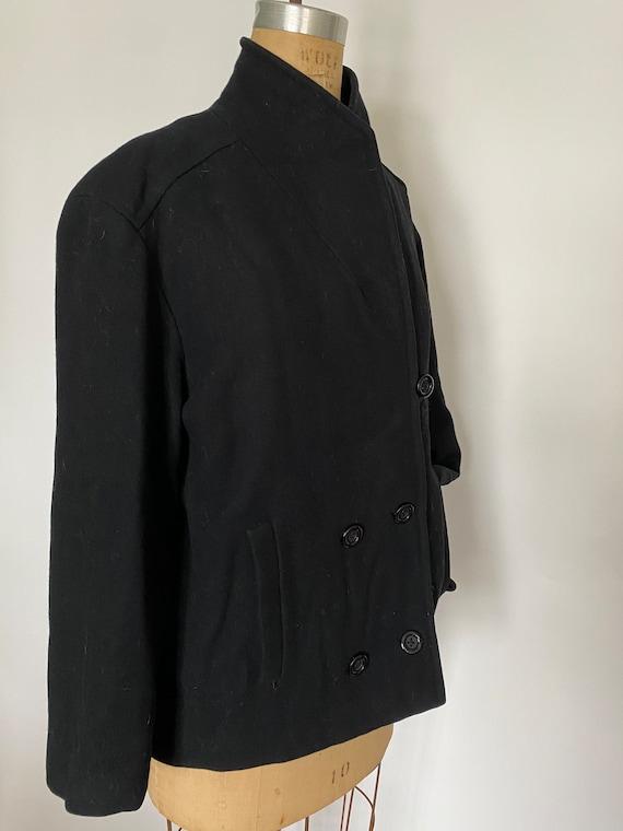 Pauline Trigere Vintage 1980's black wool peacoat - image 5