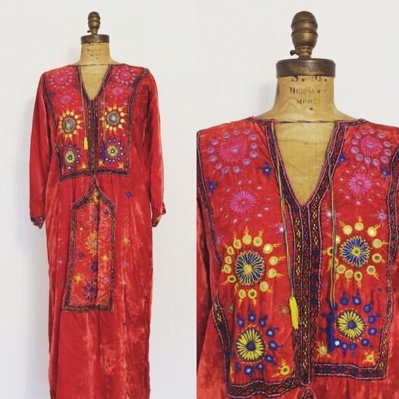 Red Velvet 1960's/70's Hand Embroidered Caftan Mor