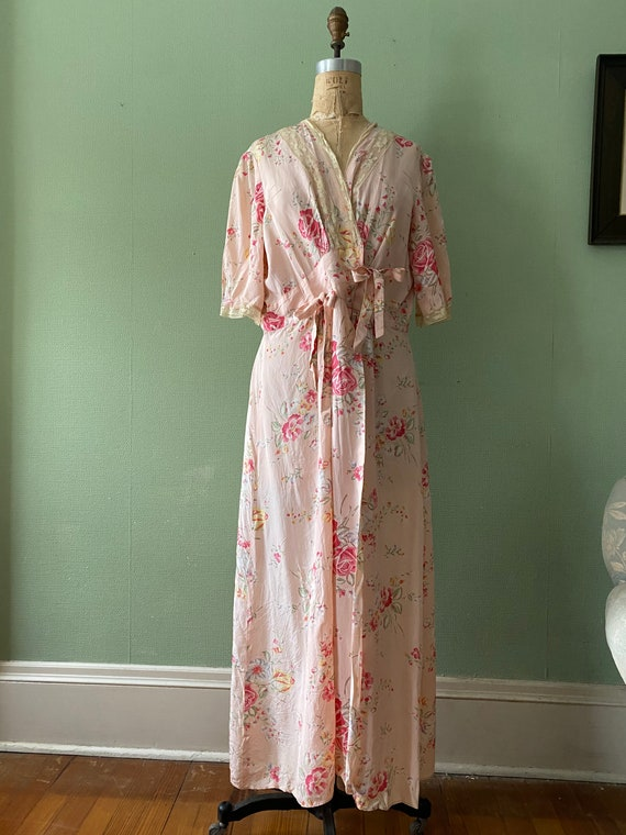 1940's cold rayon floral print robe - image 3