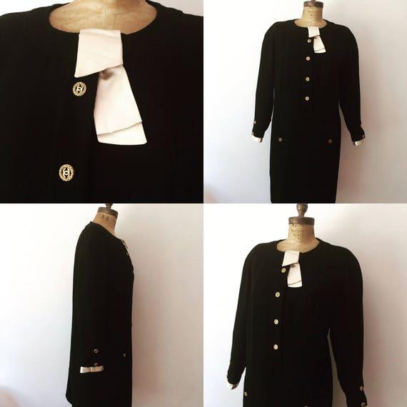 Chanel vintage Black wool dress w/ Iconic Chanel l