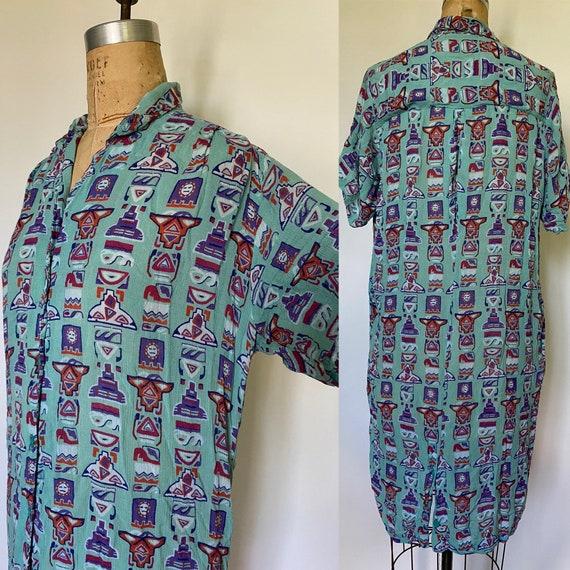 Vintage Rayon Indian Mu Mu Caftan dress with pocke