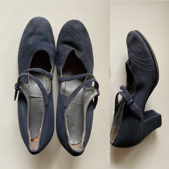 1920s/1930's Blue suede high heeled shoes