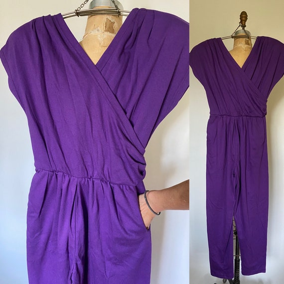 Vintage 1980s romper Purple cotton onesie romper w