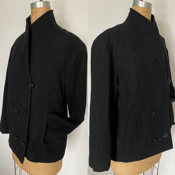 Pauline Trigere Vintage 1980's black wool peacoat - image 1