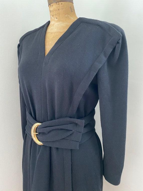Pauline Trigere Vintage 1980's black wool belted … - image 10