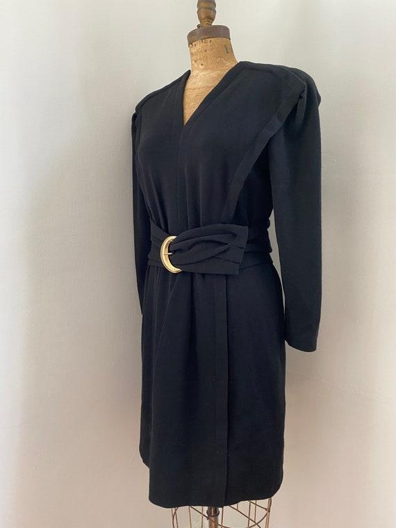 Pauline Trigere Vintage 1980's black wool belted … - image 5