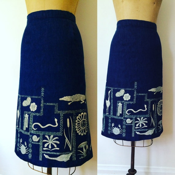 Vintage Denim Handmade Painted Skirt