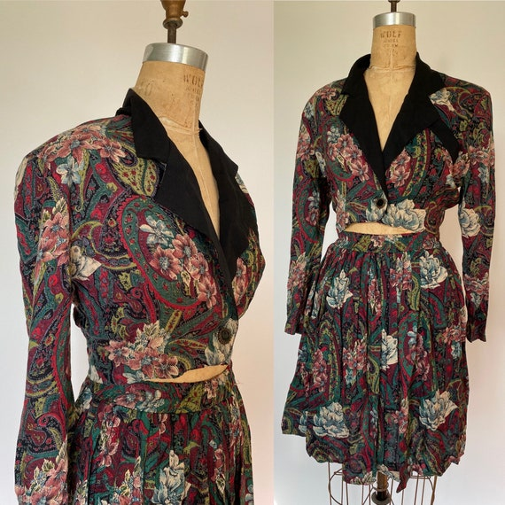 1980s Rayon 2 Pcs floral print cropped jacket and