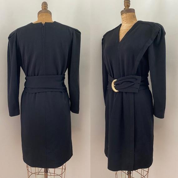 Pauline Trigere Vintage 1980's black wool belted … - image 1