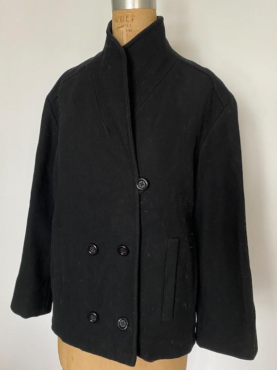 Pauline Trigere Vintage 1980's black wool peacoat - image 3
