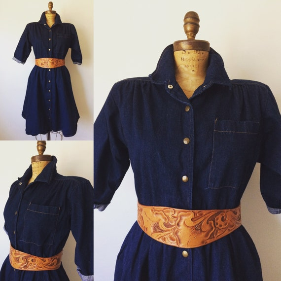 1980's Vintage Denim button down dress