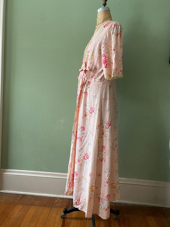 1940's cold rayon floral print robe - image 4