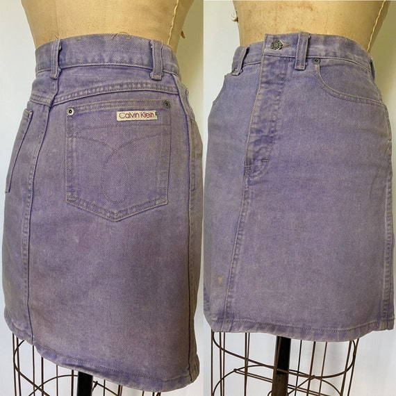 1980s Calvin Klein overdyed purple denim skirt