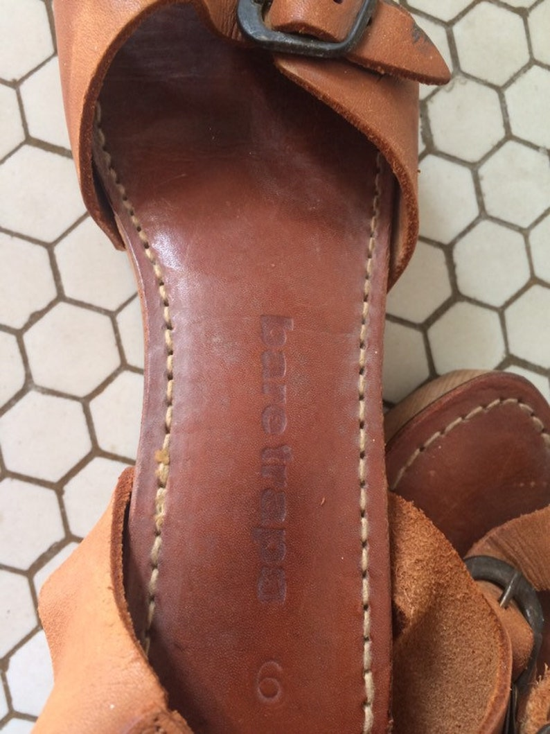 1970/'s Vintage Platform wooden clog style sandals Bare Trap brand size 67