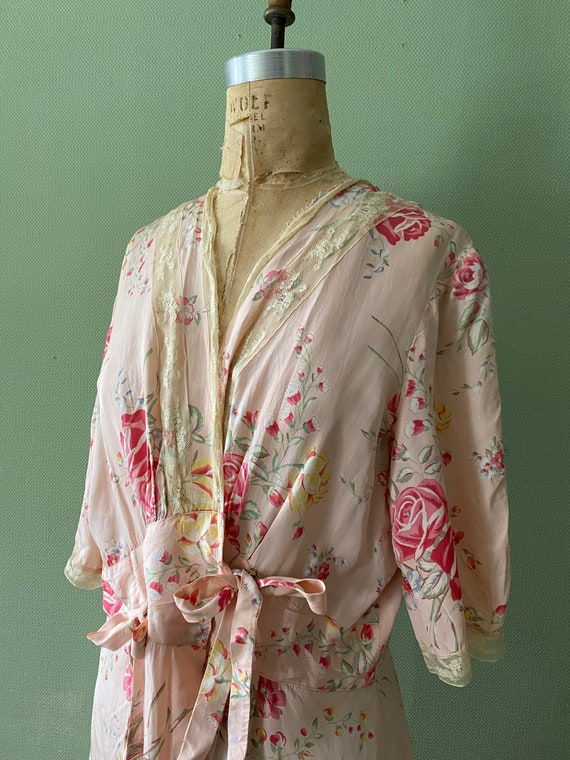 1940's cold rayon floral print robe - image 8