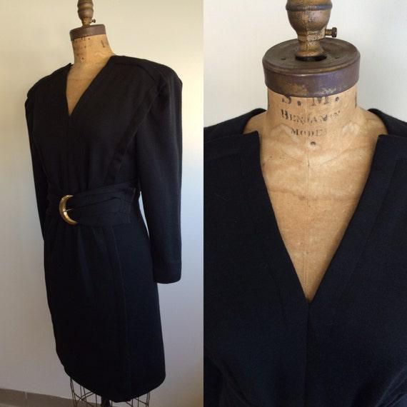 Pauline Trigere Vintage 1980's black wool belted d