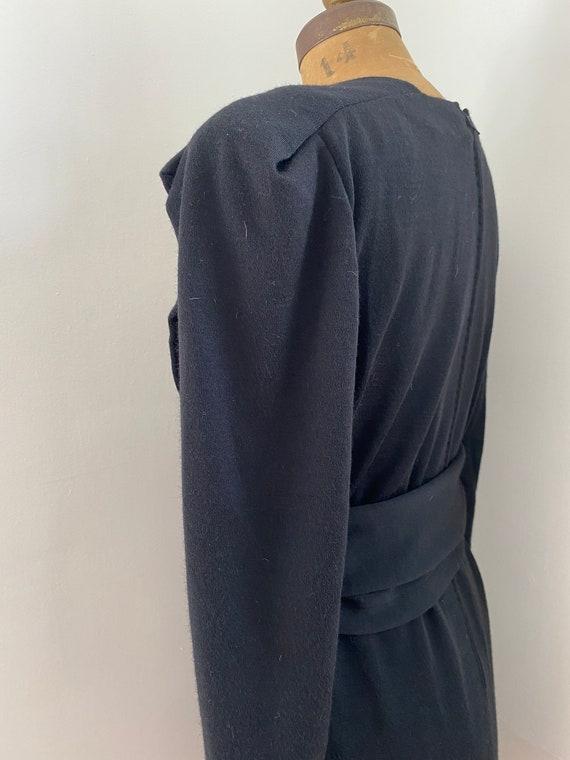 Pauline Trigere Vintage 1980's black wool belted … - image 7