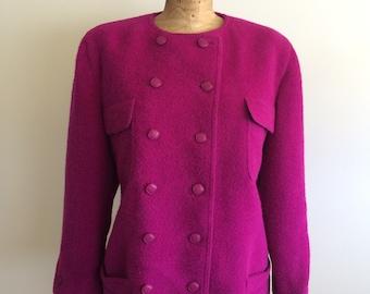 Jean Louis Scherrer Boutique 1980's Fuchsia wool blazer. Made in France