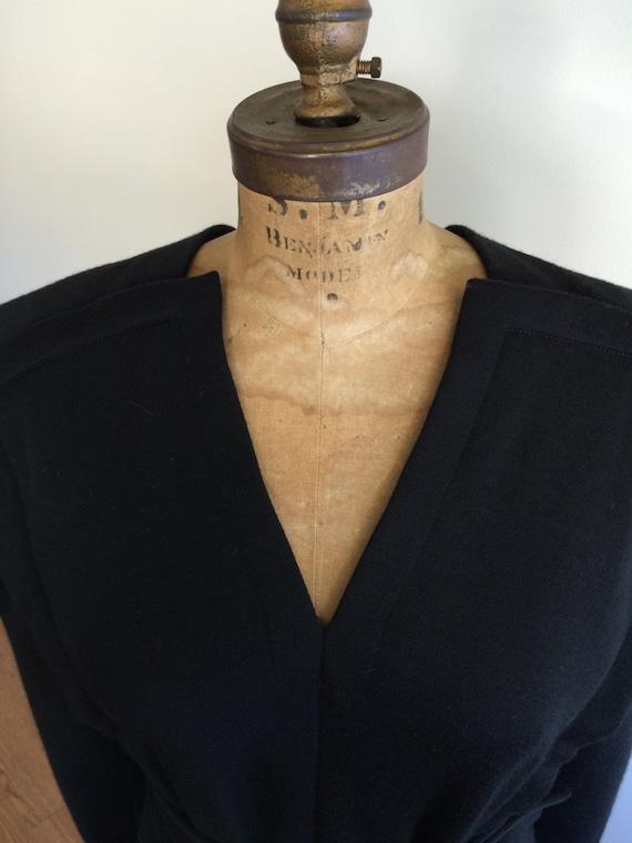 Pauline Trigere Vintage 1980's black wool belted … - image 3