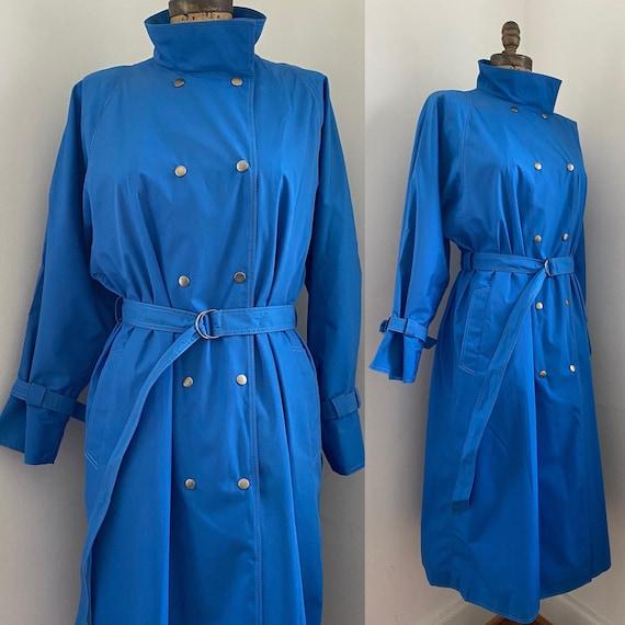 Pauline Trigere vintage 1980s blue trench coat - image 1