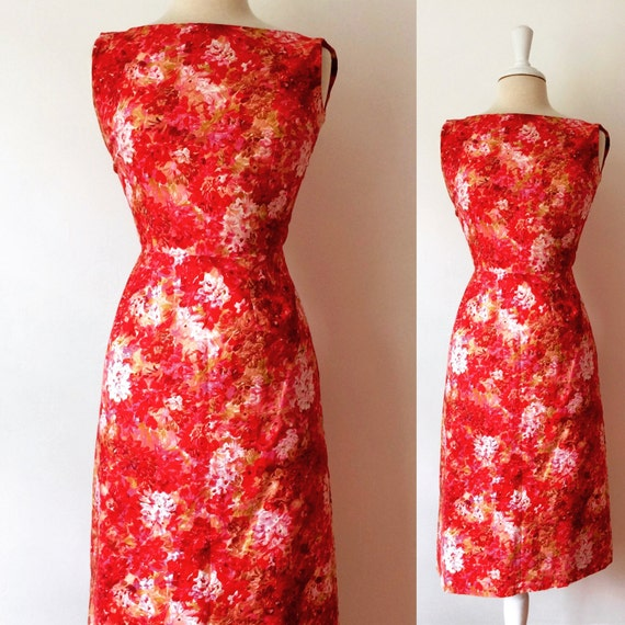 1960's Cotton Floral Print Sleeveless Summer Dress