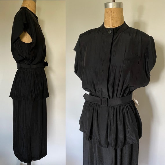 NWT 1980's Dead stock Black New Wave Style dress P