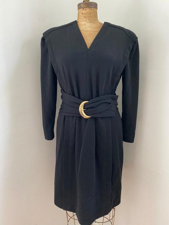 Pauline Trigere Vintage 1980's black wool belted … - image 2