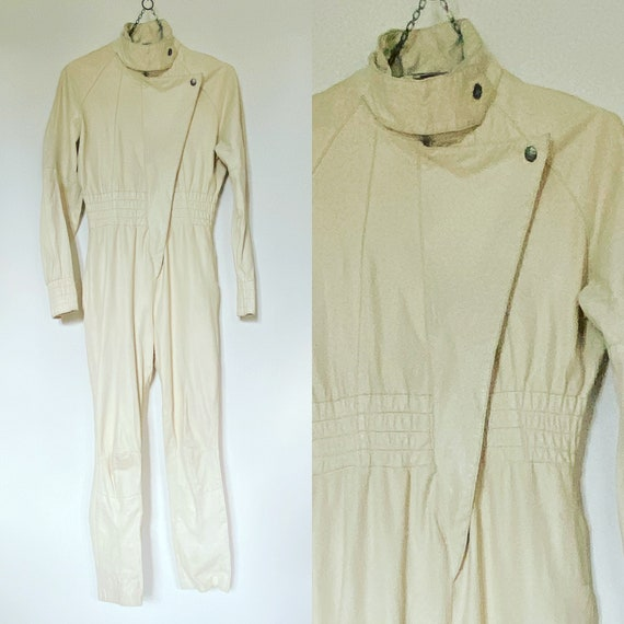 1980's Vintage White Leather One Piece Jumpsuit W… - image 1