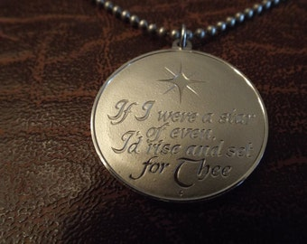 """Sterling Pendant Marked IF I WERE A STAR"""" 1.5"""" with sterling necklace 20""""  20.56 Grams, Vintage Jewelry"""