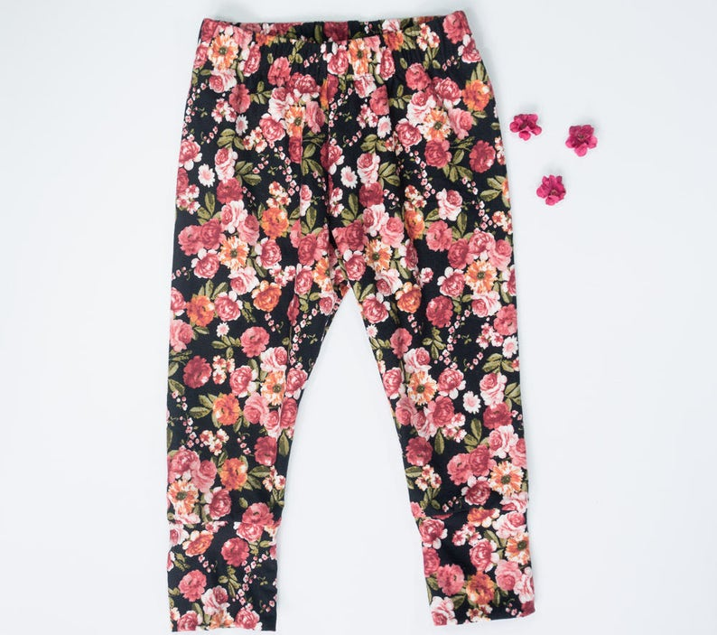 Baby and toddler girl leggings vintage inspired  floral image 0