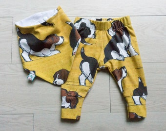 Legging and bib set - baby coming home outfit - beagle gender neutral outfit - dog lover baby gift - baby girl shower gift - puppy baby gift