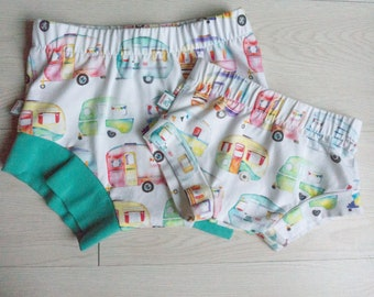 Baby shorties - boy shorts - happy camper baby gift - summer clothes girl - Fourth of July - camp girl - toddler gift - camping clothes