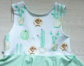 Baby girl hedgehog dress - hedgehog birthday dress - girls dress - toddler dress - special occasions - mint dress - twirl dress baby girl