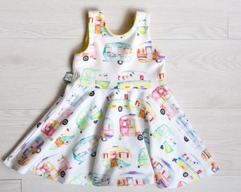 Baby girl dress - camp girl - twirl dress - happy camper baby girl gift - summer dress - Fourth of July - toddler gift - baby girl clothes