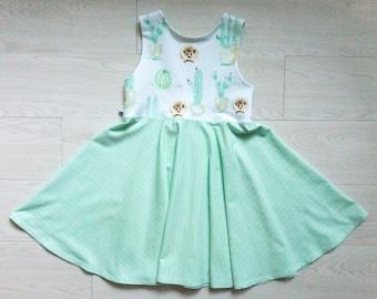 Girls size 7 summer dress - twirl dress - special occasion mint green dress tween - gift hedgehog lover girl - girl summer dress for wedding