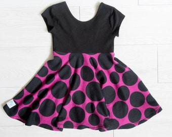 Baby girl dress - birthday dress - hipster baby dress - 2 toddler dress - special occasions - black and pink dress - twirl dress for baby