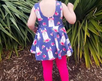 Baby girl gift - llama baby clothes - alpaca birthday toddler girl - baby girl peplum twirl top - back to school girl clothes - baby shower
