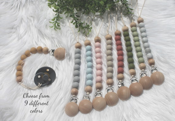 Wooden Pacifier Clip Pacifier Clip Baby Gift Silicone Pacifier Clip WITH Wooden Ring Baby Shower Gift All Natural