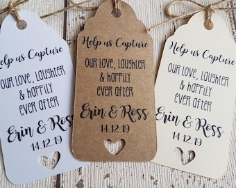 Disposable Camera Wedding Favour Tags Wedding Camera Personalised Photo Tag