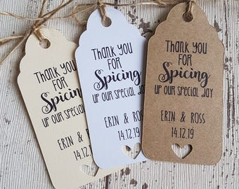HOT SAUCE CHILLI Favour Gift Tags Wedding Favours Kraft Vintage Personalised