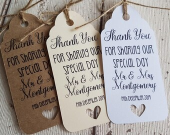 THANK YOU Favour Gift Tags Wedding Favours Label Kraft Vintage Personalised