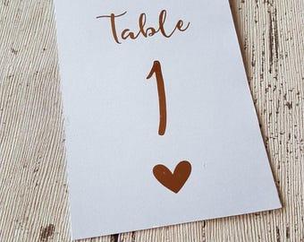 Numéros de Table de mariage en or rose feuille rustique Vintage argent or 1-10