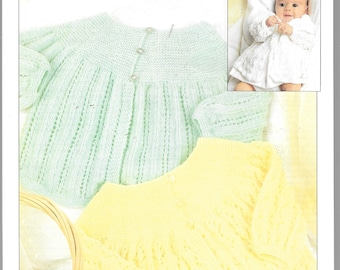 Original 3 ply knitting pattern from Patons for 3 versions of cardigan / matinee coat.  18 ins - approx age 9 months