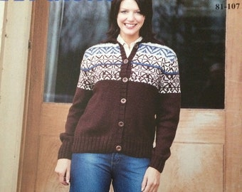 5d8ba20191 Nice Patons knitting pattern for a ladies fair isle Aran cardigan. To fit  sizes 32-42 ins   81-107 cms