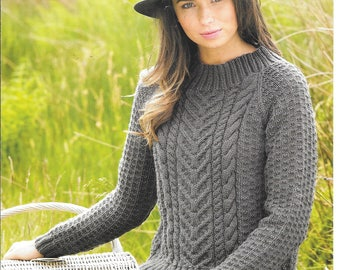 eea2038518b058 PDF knitting pattern for a ladies aran jumper   sweater to fit sizes 28-46  inch (71-117 cms)