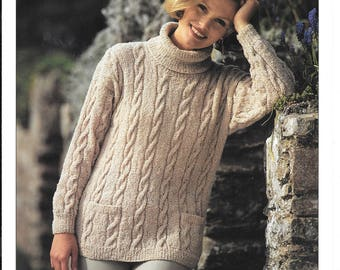 Original Hayfield knitting pattern for a ladies jumper with pockets to fit sizes 30-40 ins / 76-102 cms.  Pattern is for double knit wool.